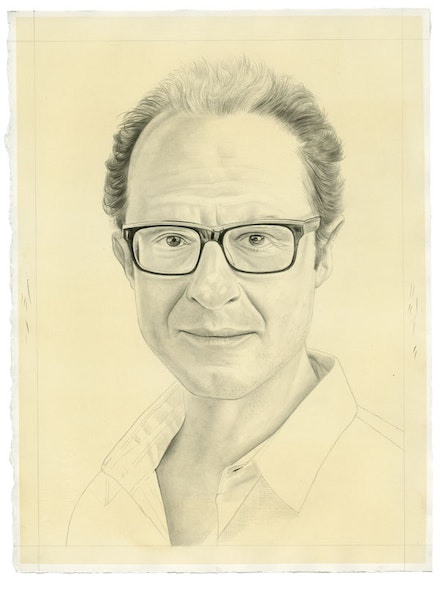 Portrait of Wayne Koestenbaum by Phong Bui, pencil on paper. From a photo by Taylor Dafoe.