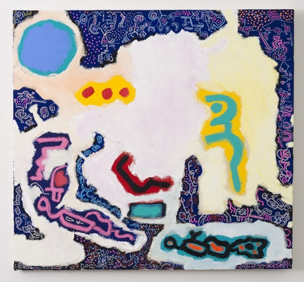 <em>Lunar Bacchanal</em>, 2014. Oil, Flashe, acrylic, and acrylic marker on canvas. 26 × 38 inches. Courtesy the artist.