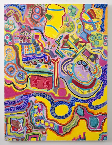 <em>Água Viva</em>, 2014. Oil, Flashe, acrylic, and acrylic marker on canvas. 48 × 36 inches. Courtesy the artist.
