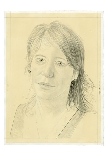 Portrait of Sara Reisman. Pencil on paper by Phong Bui. From a photo by Zack Garlitos.