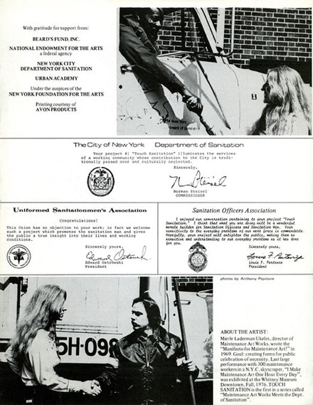 Mierle Laderman Ukeles, <em>Artist's Letter of Invitation Sent to Every Sanitation Worker with Performance Itinerary for 10 Sweeps in All 59 Districts in New York City</em>, 1979. Printed brochure. Courtesy Ronald Feldman Fine Arts, Inc.