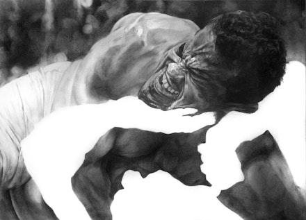 Shaun Leonardo, <em>Self-portrait (Arena 3)</em>, 2014. Graphite on paper, 22 × 30 inches. Courtesy the artist.