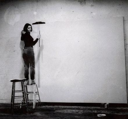 Castoro in her studio, 1967, Self timer polaroid. Copyright the Estate of Rosemarie Castoro. Courtesy BROADWAY 1602, New York, New York. Photo: Rosemarie Castoro.