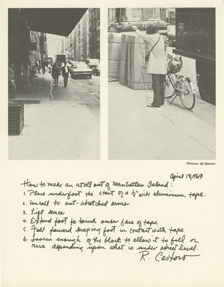 Rosemarie Castoro, <em>Streetworks II. April 18, 1969, City Block around 13, 14th Street, 5th & 6th Avenues, 5 to 6PM 'Atoll'</em>, 1969, Offset print documenting Streetworks II performance, 11 x 8.5 inches, Edition of 7. Copyright: Rosemarie Castoro. Courtesy of: The artist and BROADWAY 1602, New York.