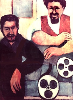 """The Filmmakers"" Ralph Carpeinter painting 1949. Me and Tom Guarino."