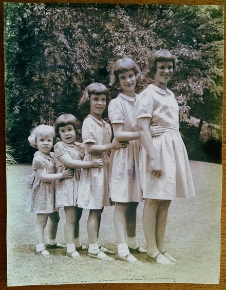 """The Stroud Cousins,"" from Schoolhouse Ledge, standing from right to left: Lynn, Clara, Sydie, Ann, Kippy. 1952."