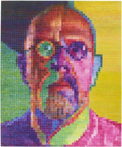 Chuck Close, <em>Self-Portrait I</em>, 2014. Oil on canvas, 101 7/8 &times; 84 1/8 inches. Courtesy Pace Gallery. Photo: Kerry Ryan McFate.