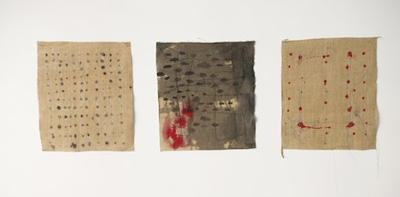 Suzanne Goldenberg, <em>Note to Self, # 1,4,7</em>, 2015. Ink and thread on linen, 12 × 12 inches. Courtesy Gallery Molly Krom.