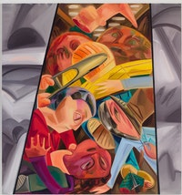 Dana Schutz, Fight in an Elevator 2, 2015. Oil on canvas, 96 × 90 inches. Courtesy the artist and Petzel, New York.