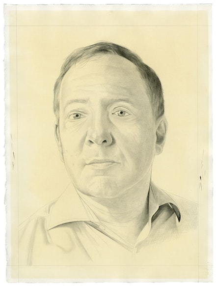 Portrait of Charles Duncan. Pencil on paper by Phong Bui. From a photo by Taylor Dafoe.
