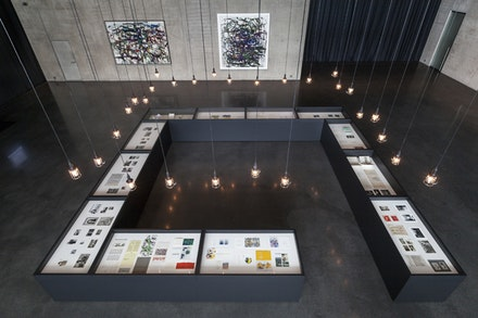 Archival materials and paintings on first floor of <em>Joan Mitchell Retrospective: Her Life and Paintings</em>, Kunsthaus Bregenz. Photo: Markus Tretter.