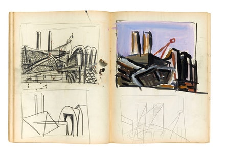 Joan Mitchell's 1948 sketchbook, collection of the Joan Mitchell Foundation Archives, © Estate of Joan Mitchell.