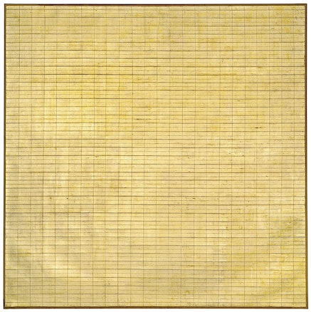 Agnes Martin, <em>Friendship</em>, 1963. Incised gold leaf and gesso on canvas, 6 1/4 x 6 1/4 ft. Courtesy Tate Modern, London. (c) 2015 Agnes Martin / Artists Rights Society (ARS), New York.