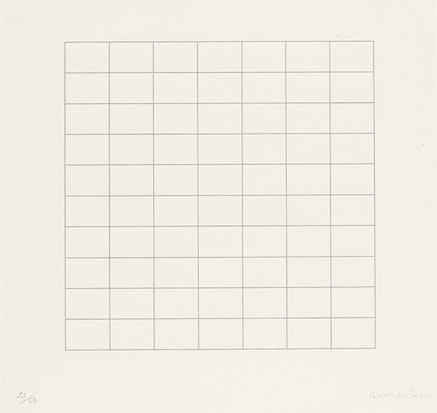 Agnes Martin, On a Clear Day, 1973. Portfolio of 30 screenprints, various composition dimensions: (ea. approx.: 12 1/8 x 12 in.). Courtesy Tate Modern, London. © 2015 Agnes Martin / Artists Rights Society (ARS), New York.