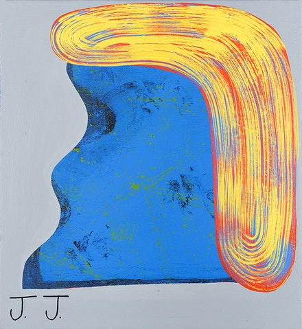 Josh Jefferson, Blondie, 2015. Acrylic, Flashe, gouache, and ink on canvas, 26 x 24 in. Courtesy Turn Gallery.