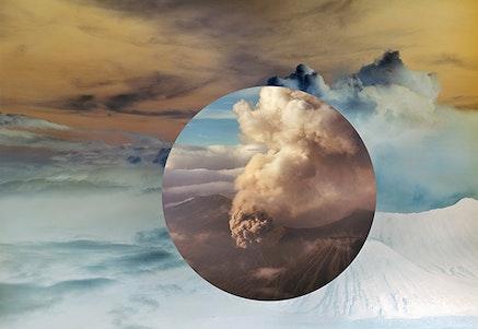 Meridel Rubenstein, <em>Mt. Bromo from above Encircled</em>, 2011. Dye sublimation on aluminum, edition 1/5, 31 x 45 1/2 inches.