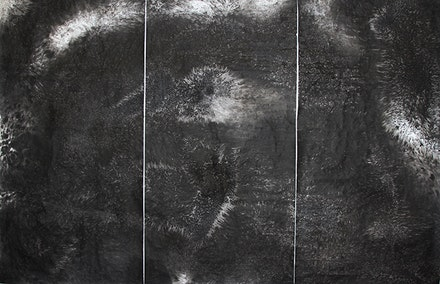 Kyeung Mook Choi, <em>Chaos 1 (triptych),</em>. Ink on paper, 70 x 150 inches. Courtesy Ray Gallery.