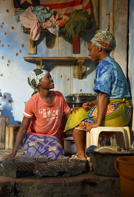 Lupita Nyong'o and Saycon Sengbloh on Clint Ramos's set for <em>Eclipsed</em>. Photo by Joan Marcus.