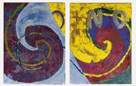 Gaby Collins-Fernandez, <em>Red Velvet NO + NO Painting</em>, 2015. Oil and acrylic paint on fabric. Two 21 × 16 inch panels. Courtesy the artist.