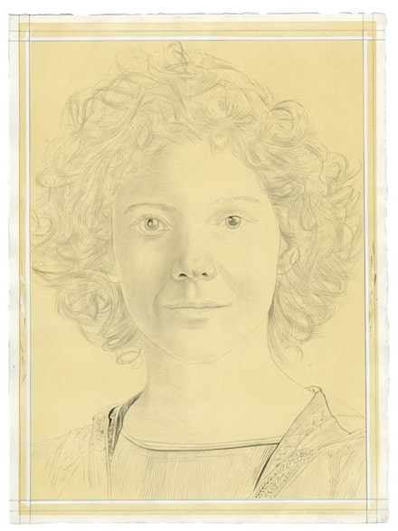 Portrait of Gaby Collins-Fernandez. Pencil on paper by Phong Bui. From a photo by Taylor Dafoe.