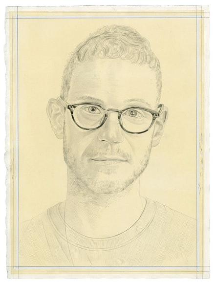 Portrait of Doron Langberg. Pencil on paper by Phong Bui. From a photo by Taylor Dafoe.