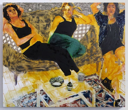 Doron Langberg, <em>Gaby Julia and Amy</em>, 2015. Oil on linen. 60 × 70 inches. Courtesy the artist.