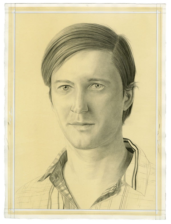 Portrait of Greg Lindquist. Pencil on paper by Phong Bui. From a photo by Taylor Dafoe.