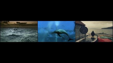 John Akomfrah, <em>Vertigo Sea</em>, 2015. Three channel video installation, 48 min. Courtesy the artist & Lisson Gallery.