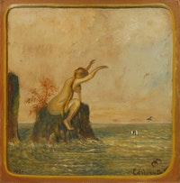 Louis M. Eilshemius, <i>Untitled (Love Bather)</i>, 1917. Oil on paperboard mounted to Masonite, 41 1/4 x 40 1/2 inches. Courtesy Michael Rosenfeld Gallery LLC, New York, NY.