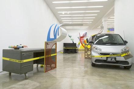 Installation view: Jessica Stockholder, <i>Door Hinges</i>, Kavi Gupta Gallery, Chicago, Sep 12, 2015 – Jan 16, 2016. Courtesy Kavi Gupta and the artist. Photo: Tim Johnson.