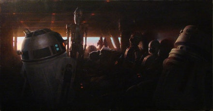 Michael Grimaldi, <i>Dusk on Tatooine</i>, 2010. Oil on canvas, 22 x 42 inches.