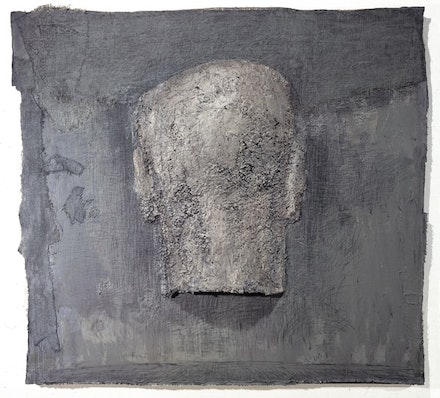 Zhang Hongtu, <i>Self-Portrait (The Back)</i>, 1987. Mixed media on canvas, 73 x 81 inches. Courtesy the Queens Museum.