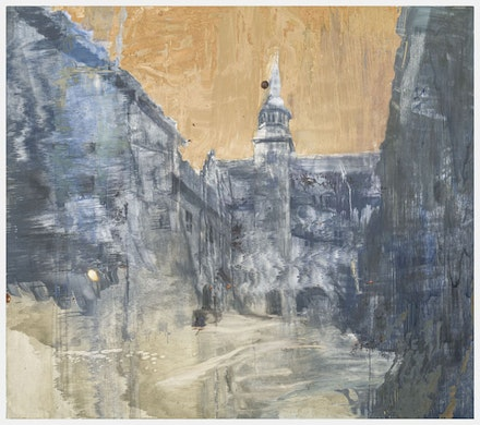 Hanneline R&oslash;geberg, <em>Weather for February and October</em>, 2015. Oil on canvas, 84 &times; 96 inches. Courtesy Blackston Gallery.