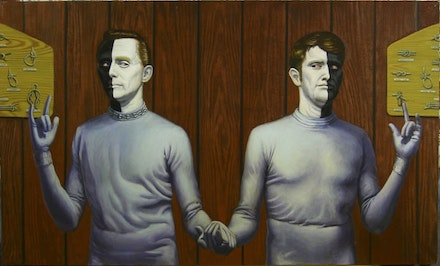 John Jacobsmeyer, <em>Bele and Lochi tie the Knot and Save the Universe</em>, 2005. Oil on canvas, 36 × 60 inches.