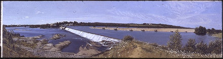 1974, The Dam at Fairfield, Oil on Canvas, 12.5 in. x 46.5 in