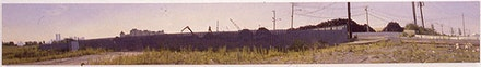 1993, A Fence at the Periphery of a Jerey City Metal Scrap Yard, Oil on Canvas, 15 in. x 116.25 in