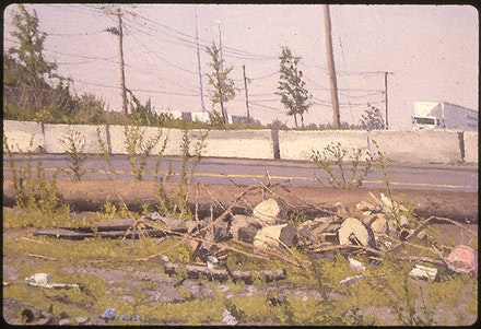 1993, A Fence at the Periphery of a Jersey City Scrap Metal Yard, Far Right Detail, Oil on Canvas, 15 in. x 116.25 in