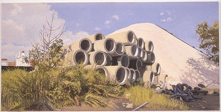 1997, Salt Pile With Culverts by the Kill Van Kull After Rain, Oil on Canvas, 16.75 in. x 33.5 in