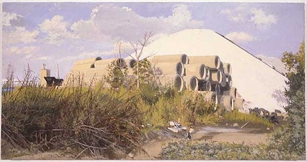 1997, Salt Pile With Culvertsy by the Kill Van Kull, Oil on Canvas, 17.25 in. x 33.5 in