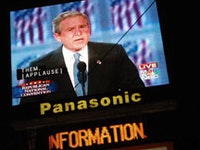 Bush on the Jumbotron in Times Square during the Republican National Convention, September 2004. Photograph by Williams Cole.