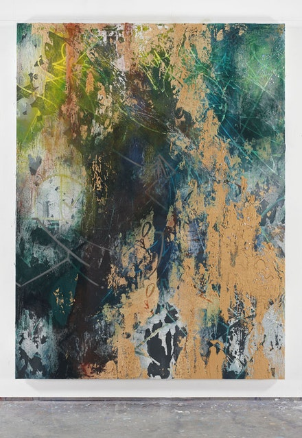 José Parlá, <em>El Camino de Neptuno</em> (2015). Acrylic, ink, plaster, and enamel on wood. 7 × 9 feet. Photo: Farzad Owrang. Courtesy the artist.