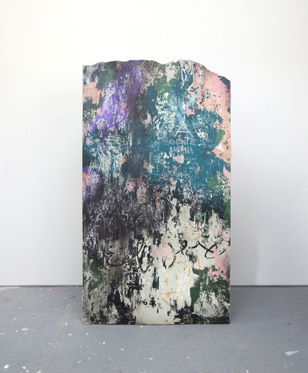 José Parlá, <em>San Lázaro y Genios</em> (2015). Acrylic, ink, plaster, and enamel on wood. Photo: Rey Parlá. Courtesy the artist.