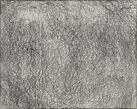 Joseph Nechvatal, <em>Uplifting</em> (1983). Graphite on paper. 11 &times; 14 inches. Collection of the Frederick R. Weisman Art Museum, University of Minnesota.