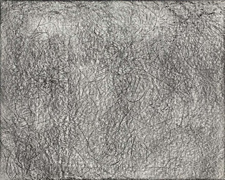 Joseph Nechvatal, <em>Uplifting</em> (1983). Graphite on paper. 11 × 14 inches. Collection of the Frederick R. Weisman Art Museum, University of Minnesota.