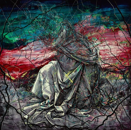 Zeng Fanzhi,<em> Yesterday</em>, 2015. Oil on canvas, 157 1/2 x 157 1/2 inches. (c) Zeng Fanzhi Studio. Courtesy Gagosian Gallery.</em>