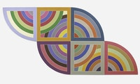 Frank Stella, <em>Harran II</em>, 1967. Polymer and  uorescent polymer paint on canvas, 120 x 240 inches. Solomon R. Guggenheim Museum, New York; gift, Mr. Irving Blum, 1982. (c) 2015 Frank Stella/Artists Rights Society (ARS), New York.