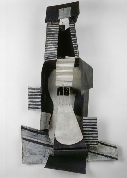 Pablo Picasso, <em>Guitar</em>, 1924. Painted sheet metal, painted tin box, and iron wire, 43 11/16 × 25 × 10 1/2 inches. Musée national Picasso–Paris. (c) 2015 Estate of Pablo Picasso/Artists Rights Society (ARS), New York.