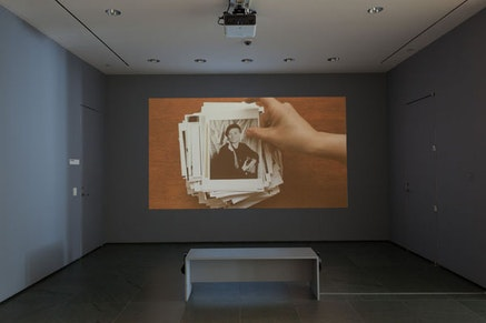 Installation view, Andrea Geyer. <em>Insistence</em>. 2013. Video (color, sound). 15:21 min. The Museum of Modern Art, New York. The Modern Women&rsquo;s Fund. &copy;2015 Andrea Geyer, courtesy Galerie Thomas Zander, Cologne. The Museum of Modern Art (October 16&#150;November 15, 2015). Digital image &copy; 2015 The Museum of Modern Art, New York. Photo: John Wronn.