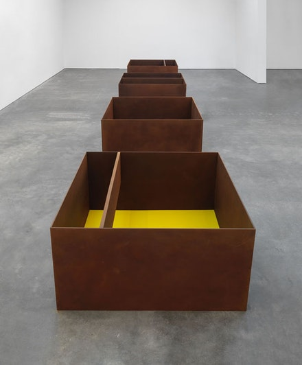 Installation view, <em>Donald Judd</em>, David Zwirner, New York, 2015. Art © Judd Foundation. Licensed by VAGA, New York, NY. Courtesy David Zwirner, New York/London.