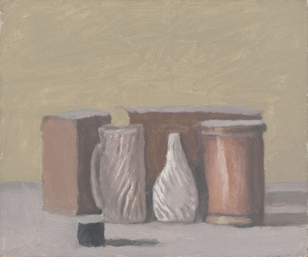 Giorgio Morandi, <em>Natura morta (Still Life)</em>, 1959. Oil on canvas, 10 1/16 x 11 7/8 inches. Framed: 13 13/16 x 15 3/4 x 1 11/16 inches. ©2015 Artists Rights Society (ARS), New York/SIAE, Rome